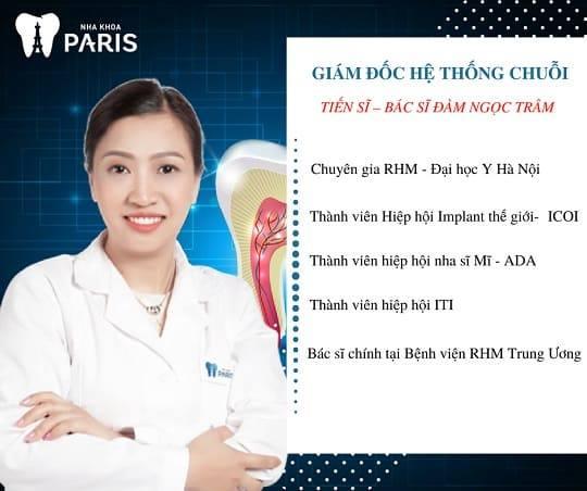 Kinh nghiệm, thành tích Tiến sĩ- Bác sĩ Đàm Ngọc Trâm, giám đốc chuỗi hệ thống Nha khoa Paris